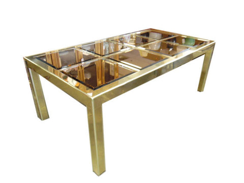 Mastercraft Brass and Bronze Mirror Dining Table