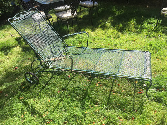 Vintage Wrought Iron Salterini Woodard Mesh Metal Chaise Lounge Chair SOLD   SOLD  SOLD