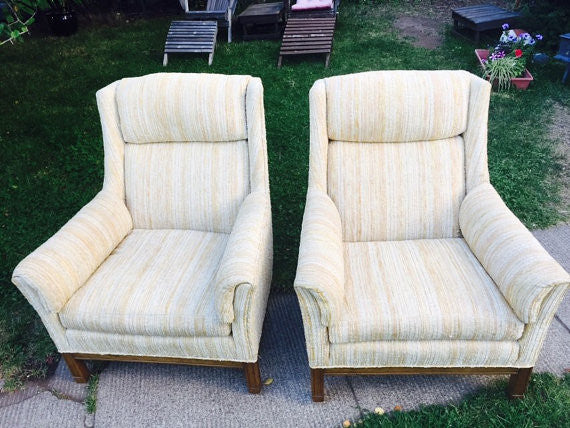 Pair of Hollywood Regency Upholstered Lounge Chairs by Heritage c 1960's