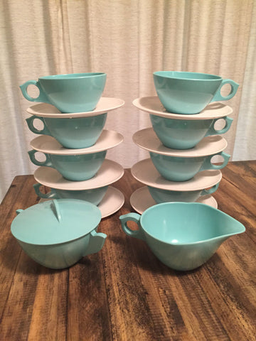 Vintage Mid Century Aqua/White Melnac Cups - Melamine Cups - Allied Chemical