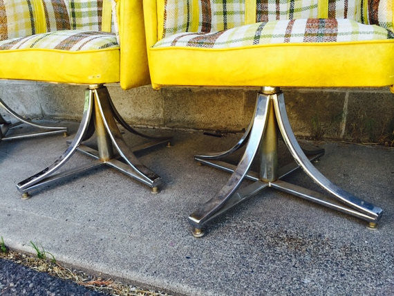 Vintage Mid Century Modern Hollywood Regency Chrome Swivel Based Upholstered Dining Chairs- set of 4