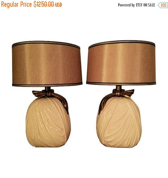 Vintage Mid Century Modern Hollywood Regency E.F. Chapman Drape Lamps - Pair