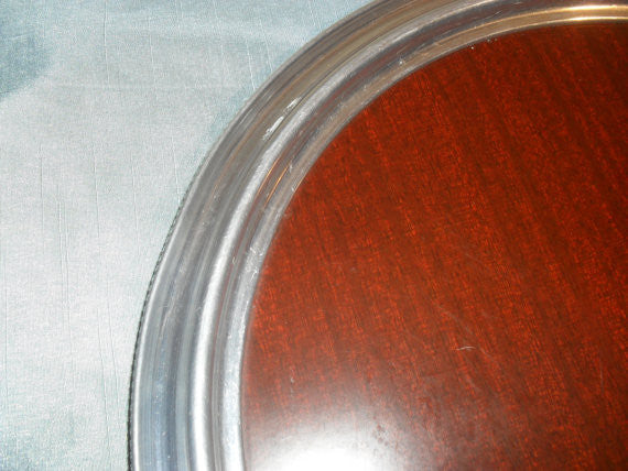 Vintage Mid Century Silverplate & Formica Round Serving Bar Tray
