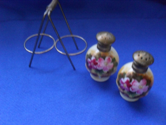 Antique Vintage Hand Painted Porcelain Salt and Pepper Shakers  with stand
