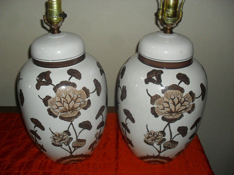 Pair Mid Century Antique Vintage Hand Painted Ginger Jar Lamps c1960's Hollywood Regency