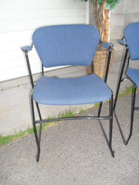 Vintage Modern Set of 8 Stacking Arm chairs with Iron frames