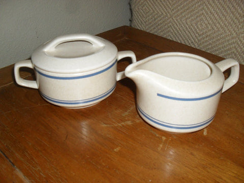 Mid Century Modern Lenox Temperware BLUE SKIES Ceramic Sugar and Creamer