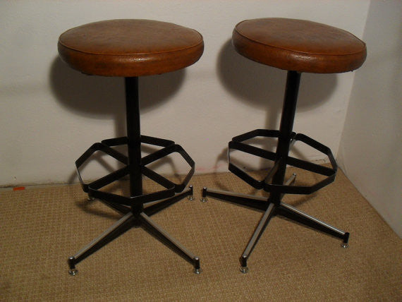 Set of Two Vintage Mid Century Modern Upholstered Iron Bar Stools with foot rest and 4 star base