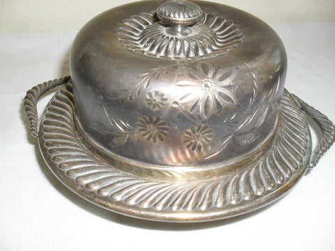 Antique Vintage Victorian Round Silver Plate Butter Dish