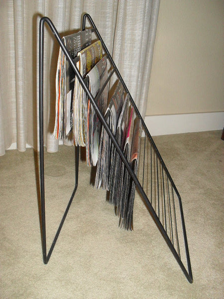 Vintage Mid Century Modern Wrought Iron Magazine Stand Rack Holder