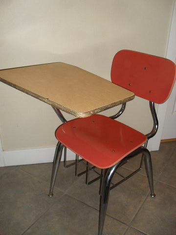 1950's School Desk Chrome Metal And Fiberglass Retro Industrial Mid Century Modern Kids Decor SOLD- SOLD -SOLD