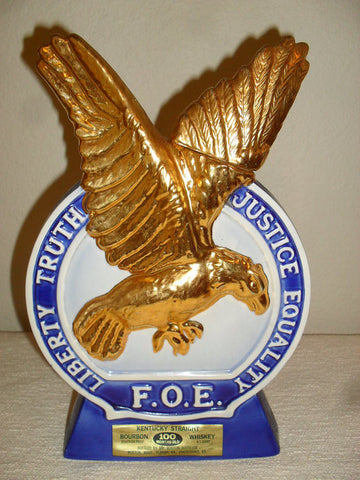 Old Mr. Boston Fraternal Order of Eagles 1971 Decanter gold plate barware