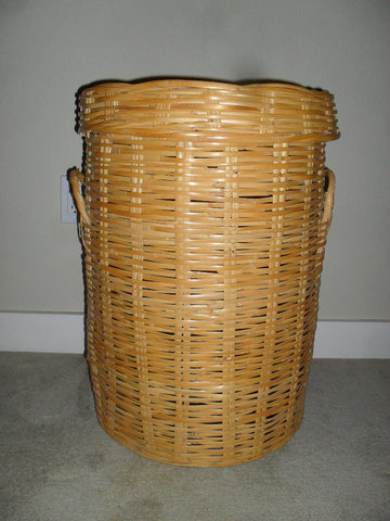 Vintage Mid Century Rattan Wicker Bamboo Laundry Hamper Basket extra large SOLD - SOLD - SOLD