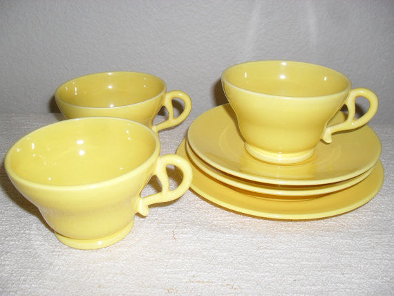 3 Vintage Franciscan Ware set tea cup, 2 saucer , 1 bread plate yellow mid century vintage