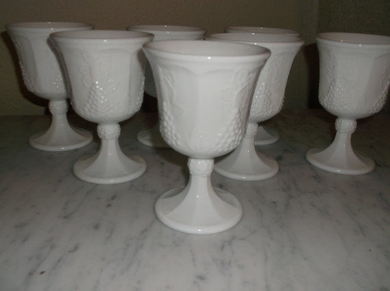 Vintage White milk glass Goblets from the Indiana Glass Co