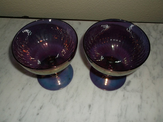 Vintage Hand Blown Amethyst Iridescent Glass compote dishes S/2
