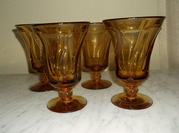 Vintage Hand Blown Amber Glass drinking glasses/ barware- set of 4