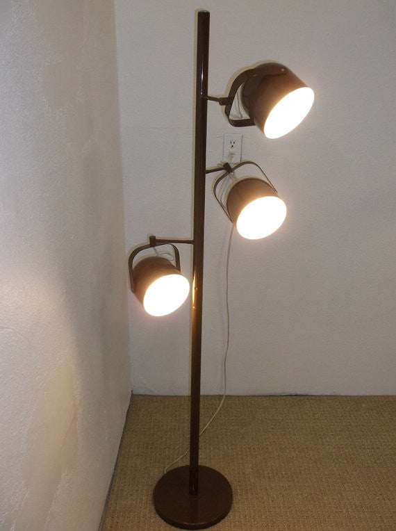 Iconic Lightolier Mid Century Modern Gerald Thurston Brown Floor Lamp