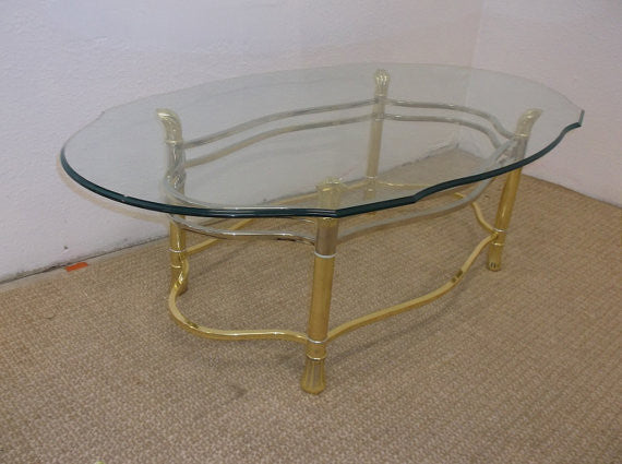 Vintage Brass Hollywood Regency Mid Century Modern Coffee Table w/ shaped glass top