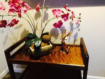 Vintage Danish Modern Walnut Bar Cart / Tea Trolley  Wegner Eames