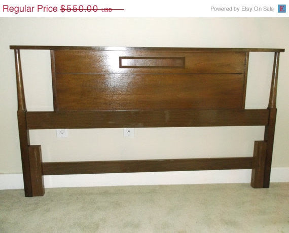 Vintage Mid Century Walnut Full Size Bed with wood siderails and footboard Complete