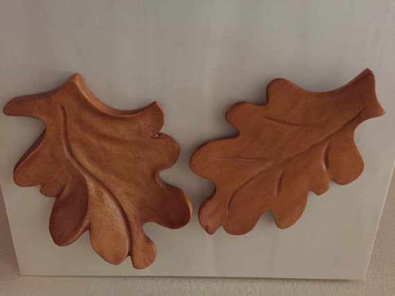 vintage wood maple leaf salad servers