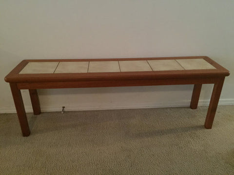 1970's Mid Century Modern Vintage Danish Teak Bench with Inset Tile