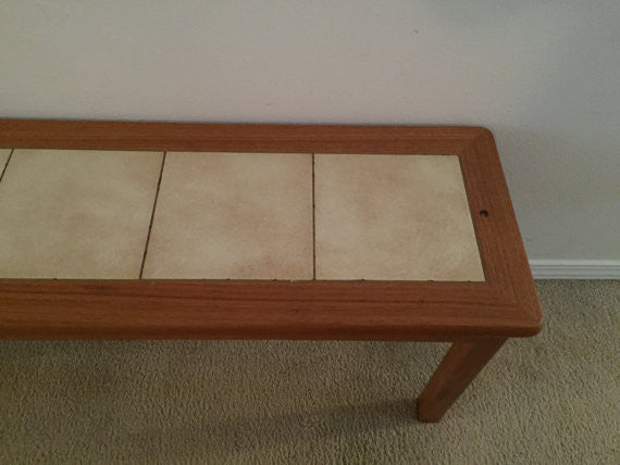 1970's Mid Century Modern Vintage Danish Teak Bench with Inset Tile-SOLD- SOLD- SOLD