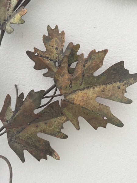 Vintage brass and copper wall sculpture -oak leaves in the style of C. Jere SOLD- SOLD -SOLD