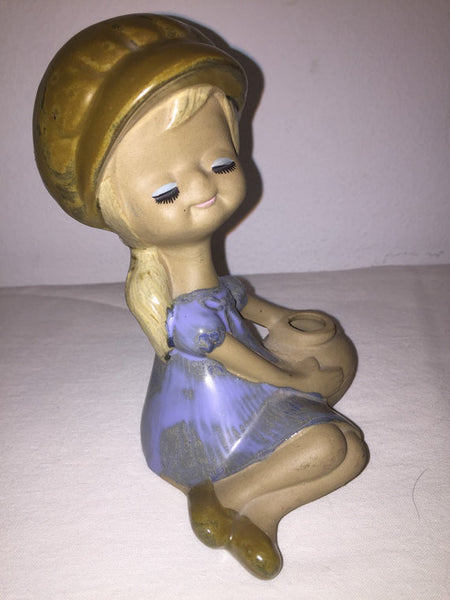 Vintage stoneware Lisa Larson style figural girl with hat and water jug