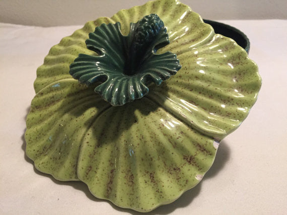 Vintage Mid Century California Pottery Green Hibiscus Flower Ceramic Serving Dish or Candy Dish
