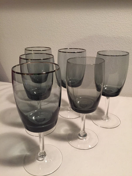 "Vintage Gorham Midnight Mist, Smoke Water Glasses/ Goblets with Platinum Band  7""tall - set of 6"