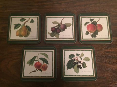 Set of Five Fruit Motif Coasters made by Pimpernel