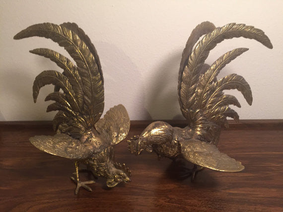 Brass Fighting Cocks/ Roosters (set of 2)