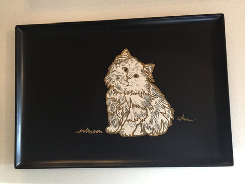 "Mid Century Danish Modern Couroc Retro Atomic California Inlay ""Purrfect Kitty"" Serving Tray"