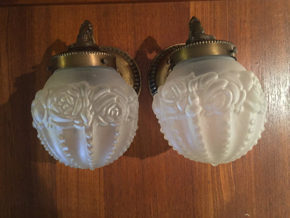 "Pair of Vintage ""Rose"" Light Fixtures hollywood regency By Kichler Co"
