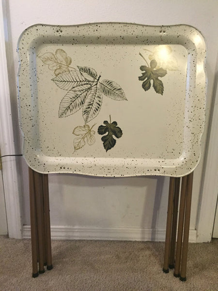 Awesome Vintage Mid Century Modern Set of 3 Metal Folding TV Tray Tables with Leaf Motif SOLD- SOLD - SOLD