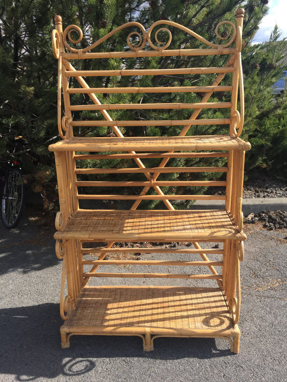 Vintage 3 Tier Bent CaneRattan Bakers Rack ,Plant Stand, Etagere, Bookrack