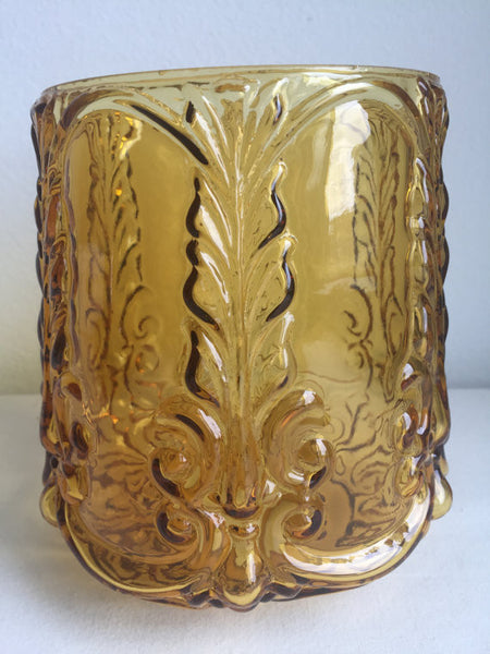 "Vintage Amber Glass Barrel Shaped Decorative Glass Lamp Shade 6"" diameter (4 available)"