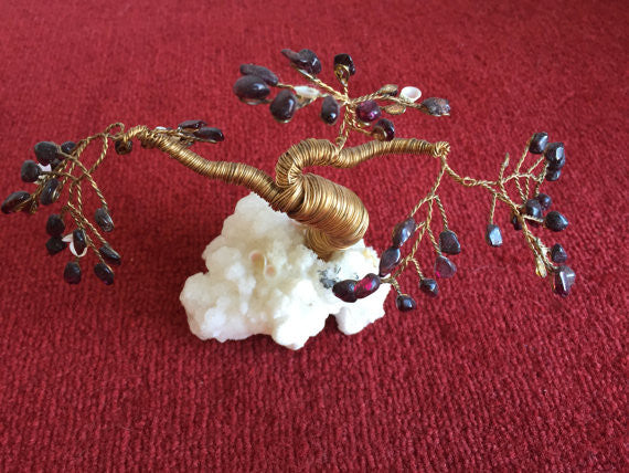 Mid Century Modern Brass Twisted Wire TREE SCULPTURE  with garnets