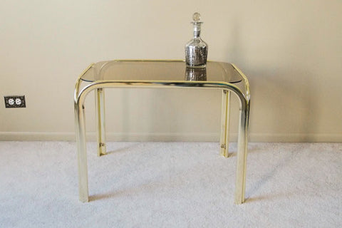 1970s Vintage Brass Hollywood Regency Mid Century Modern Set of 3 Brass End Tables