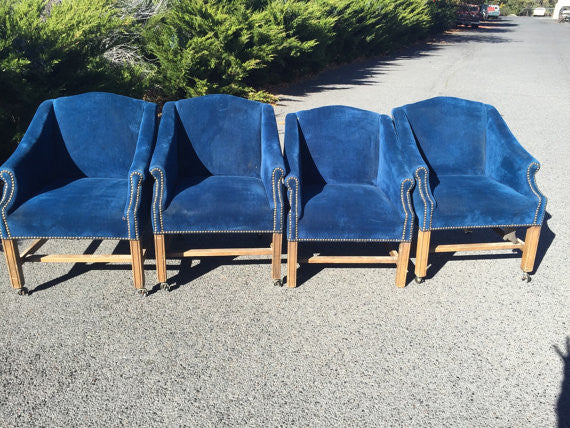 Mid Century Modern Henredon Caned Back Chairs with velvet cushions- set of 4
