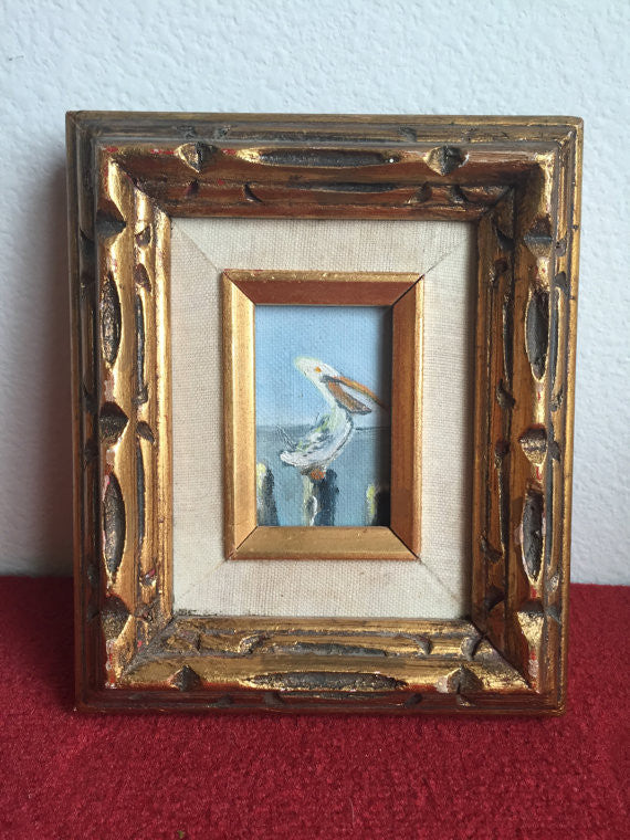 Vintage Tiny Original  Oil Painting- Pelican on a Wood Piling