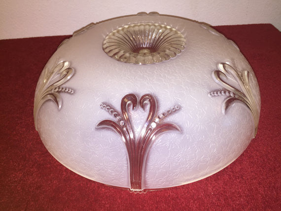 Vintage Art Deco Ceiling Lamp Light Shade Frosted and Clear Glass Heart/ Frond motif