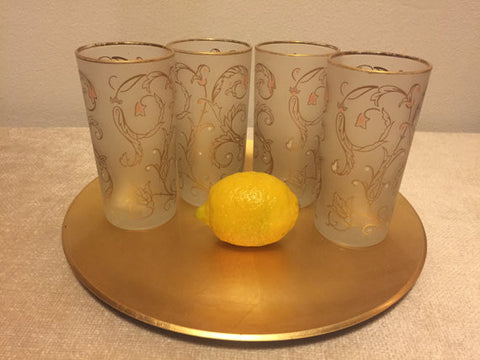Vintage Libbey Frosted Highball Barware Drinking Glasses with Gold swirl motif and gold rims