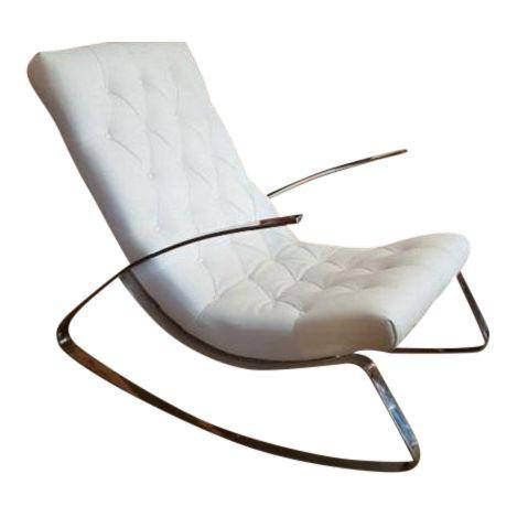 Modern Flat Bar Chrome Rocking Chair
