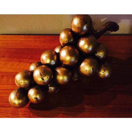 Mid Century Hollywood Regency 1960's Gold Leaf Clay Grape Bunch