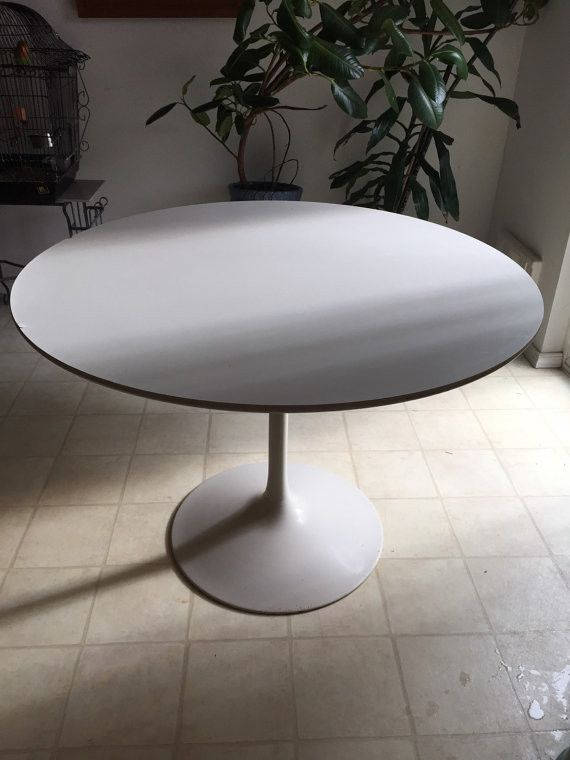 Vintage Mid Century Modern White Steel Saarinen Style Dining Table Base  With White Laminate Top