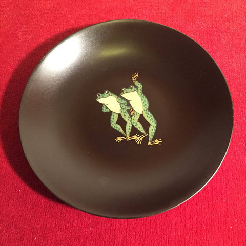 "Mid Century Danish Modern Couroc Retro Atomic California Inlay "" Dancing Frogs"" bowl"