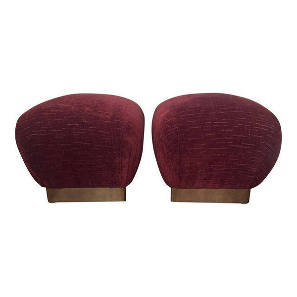 Mid Century Hollywood Regency Karl Springer Pouf Souffle Ottomans - A Pair -SOLD-SOLD- SOLD